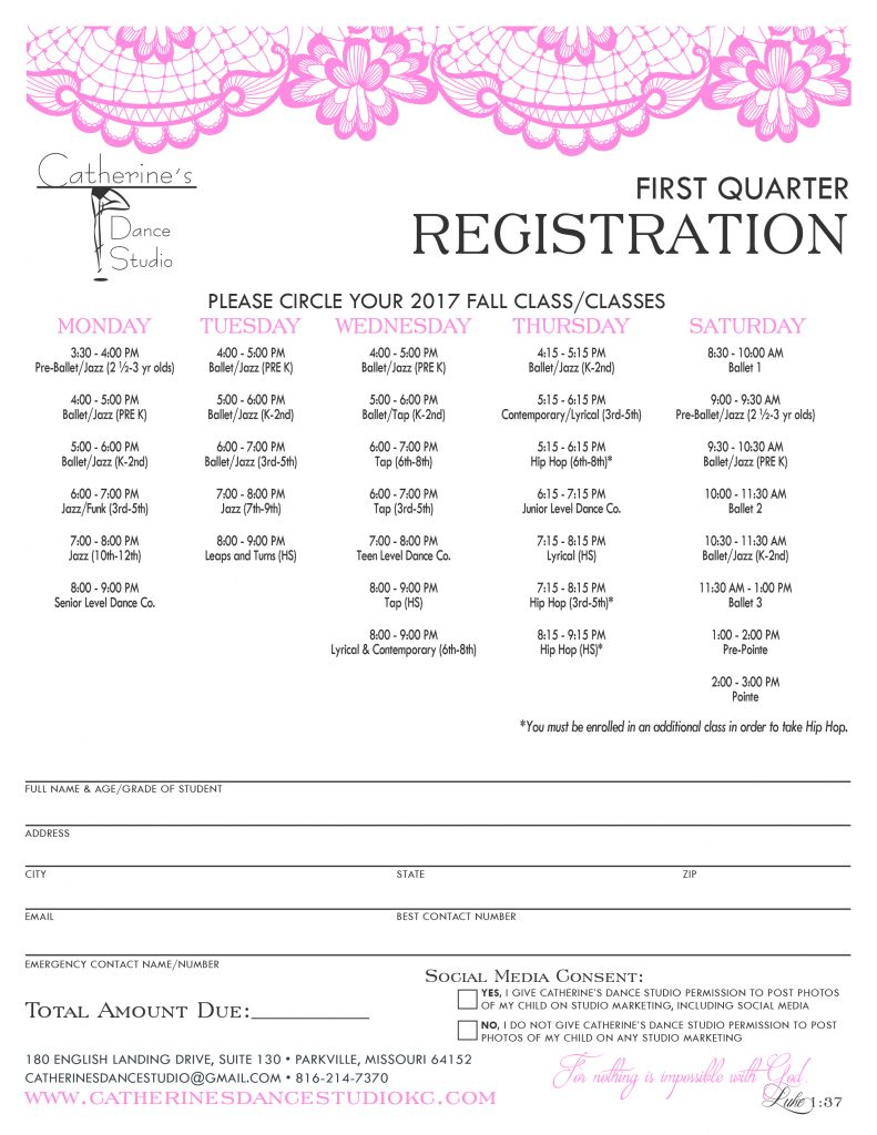 Registration for new families for Catherine's Dance Studio