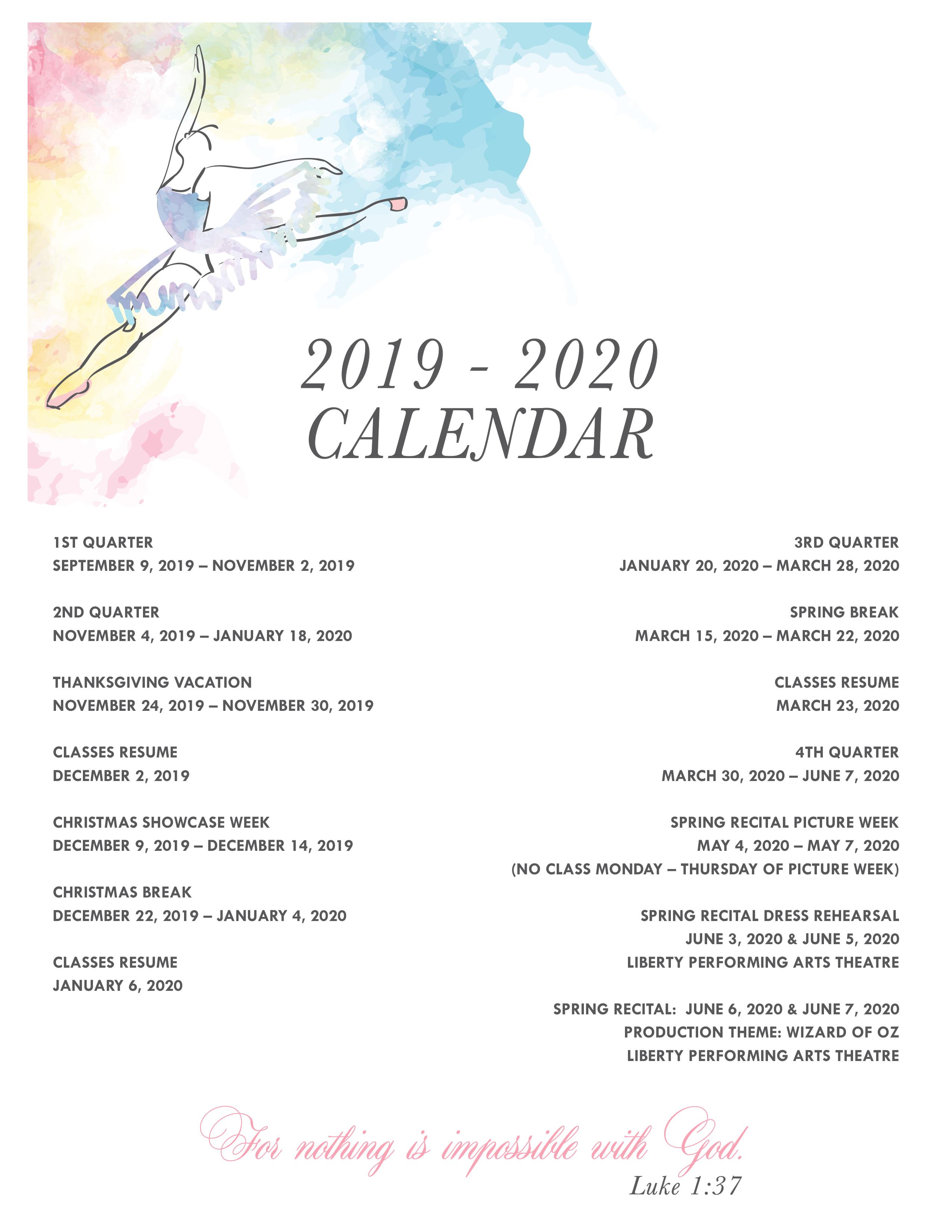 2019- 2020 Catherine's Dance Calendar, Parkville